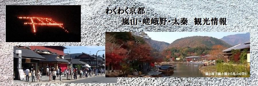 京都嵐山渡月橋小橋から亀山を望む